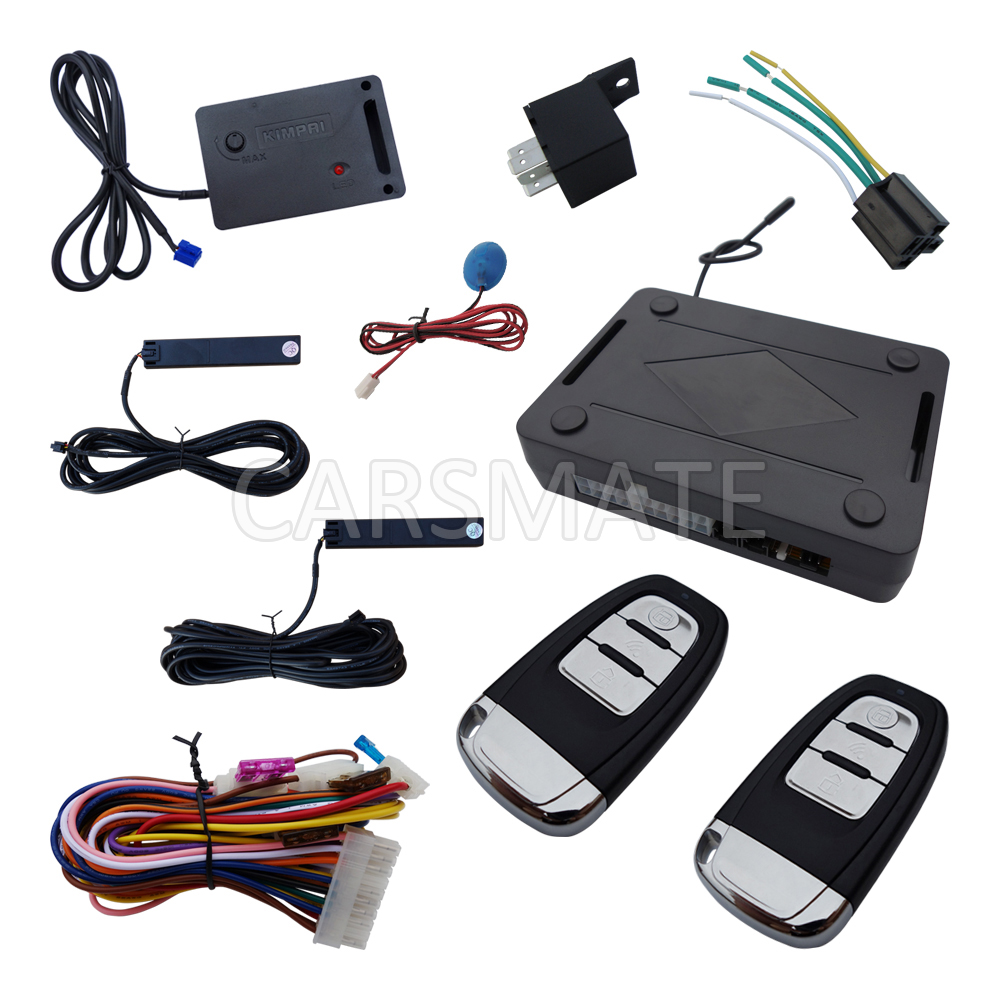 New Universal PKE Car Alarm System Remote Trunk Release Hopping Code & Auto Re-arm With Shock Sensor smart pke car alarm hopping code with remote start