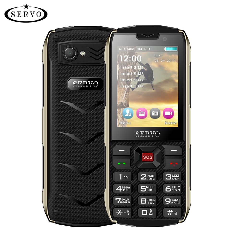 SERVO H8 Mobiltelefon 2.8inch 4 SIM-kort 4 standby Bluetooth-lommelykt GPRS 3000mAh Power Bank Telefon Russian Language keyboard
