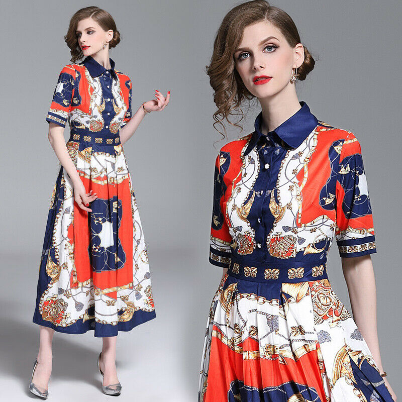 Womens Floral Print Shirt Dress Ladies Summer Beach Party Prom Ball Gown Dresses