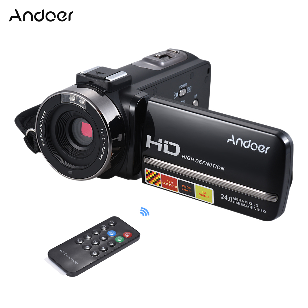 Andoer HDV 3051STR 24M Digital Video Camera 1080P Full HD w Night shot Hotshoe Digital Camcorder