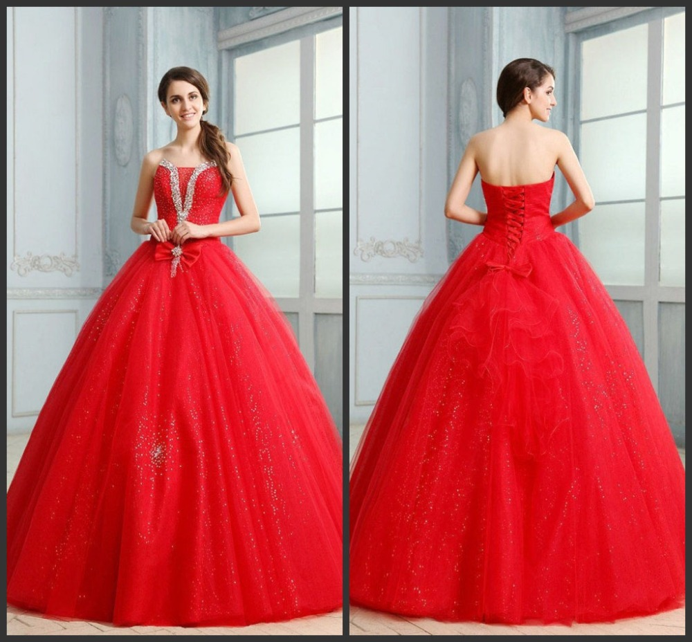 Classy 2015 red chiffon ball gown Quinceanera Dress Back lace up ...