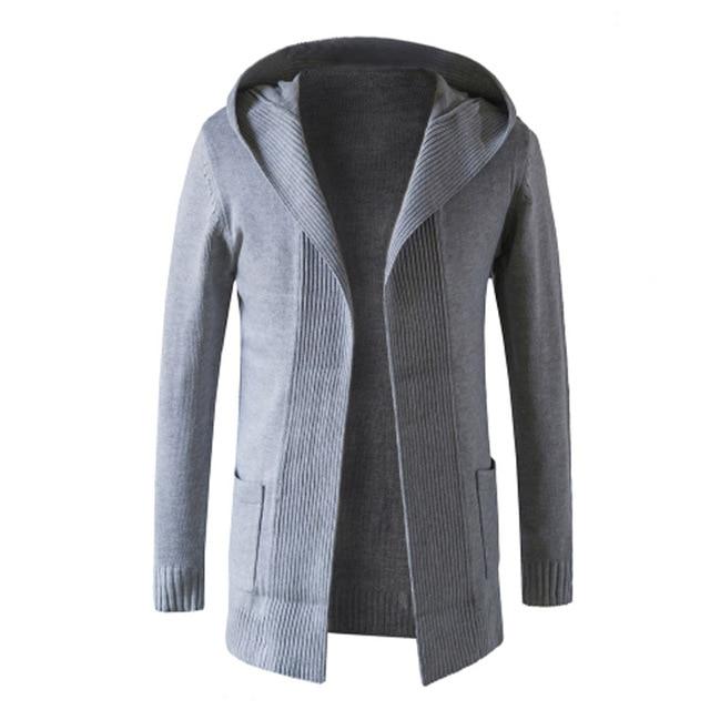 20911481742a5 2018 Autunno Moda Uomo Manica Lunga Nero Cardigan Cappotto Slim Fit di Base  Maglione Giacca Con