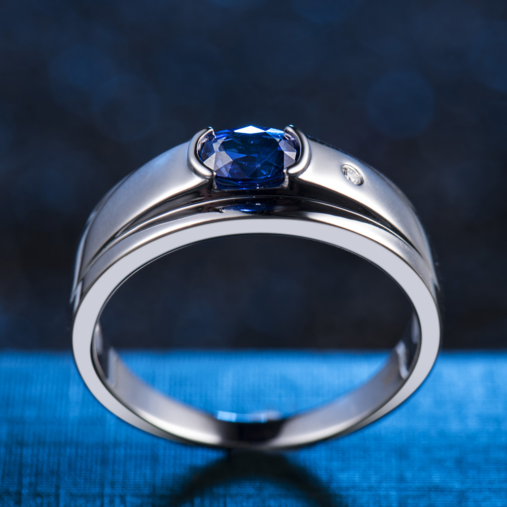 Luxury Mens Jewelry 18K White Gold Natural Sapphire Ring Natural Diamond Rings for Husband Gift WU292