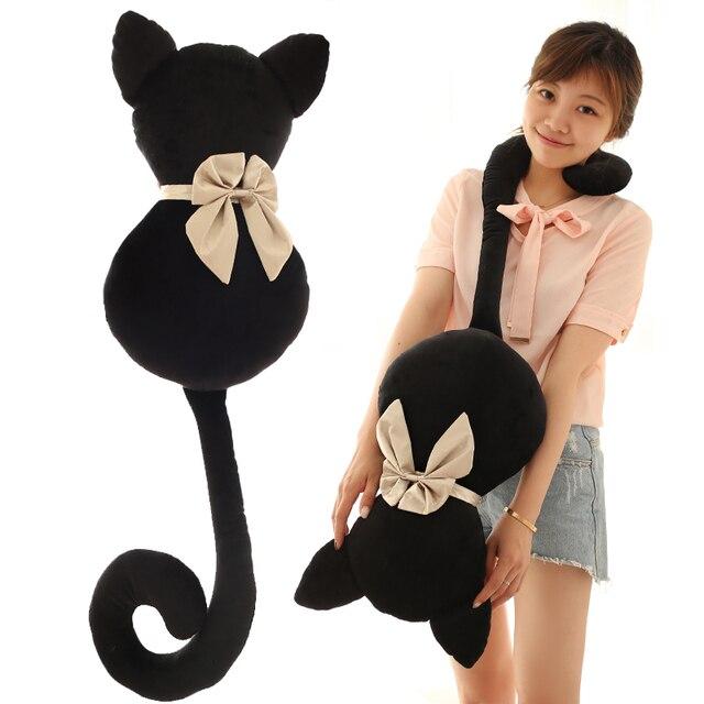 45 65 cm Kembali kucing cuddle hitam kecil kucing mainan mewah hadiah boneka  boneka mewah 910dbb451a