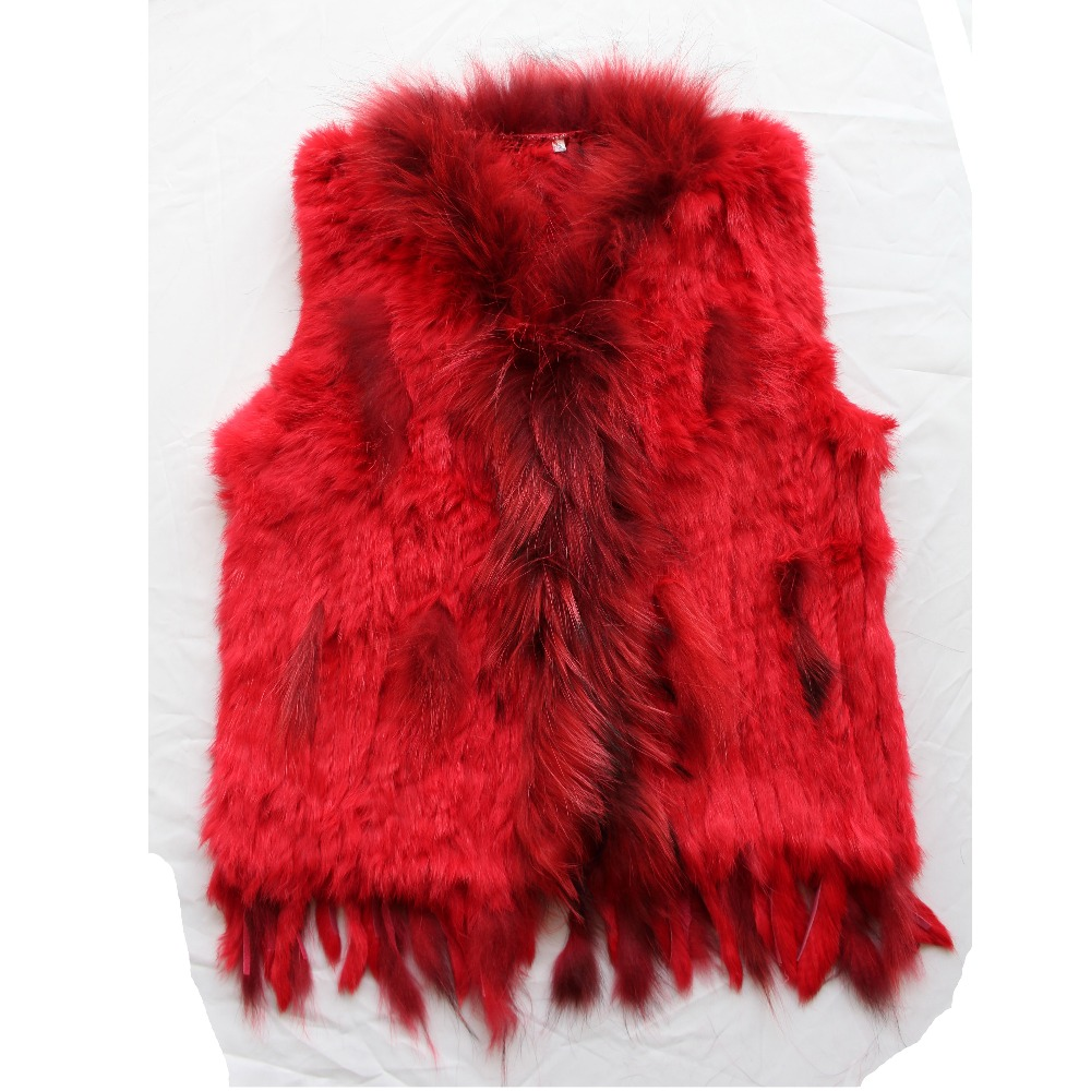 white rabbit fur vest knitted real fur for women spring autumn sleeveless outwear jackets coats femme