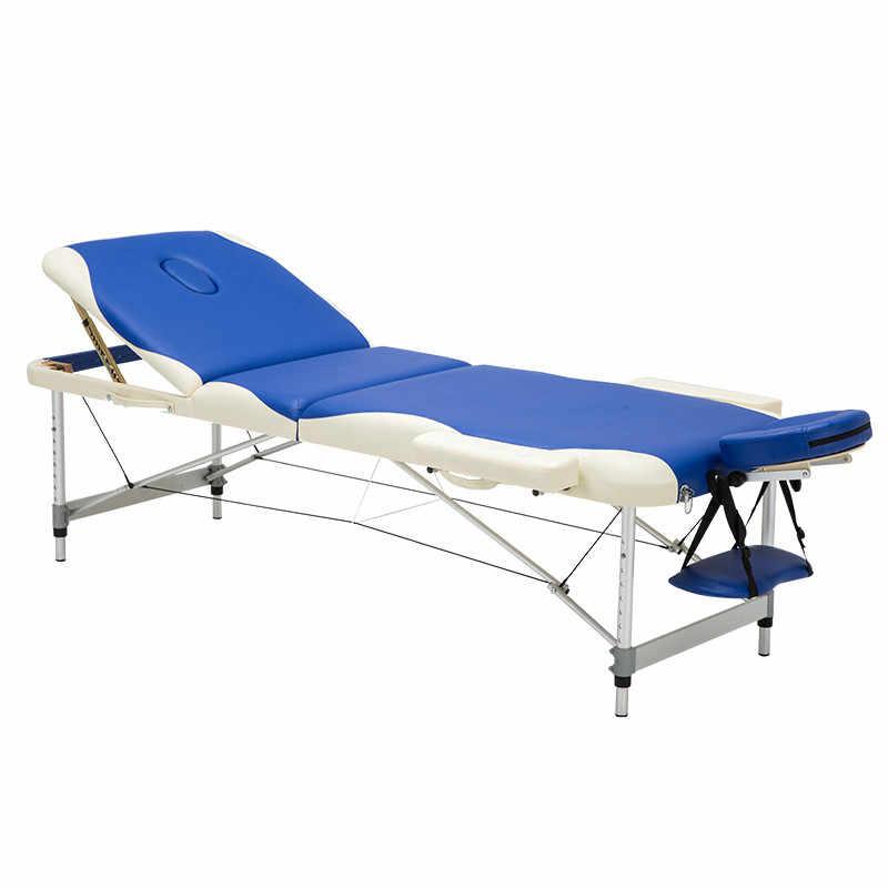 3 kat Profesyonel Taşınabilir Alüminyum Spa Masaj Masaları Katlanabilir Salonu Mobilya Katlanır masaj yatağı Bacaklar Güzellik Masa Masajı
