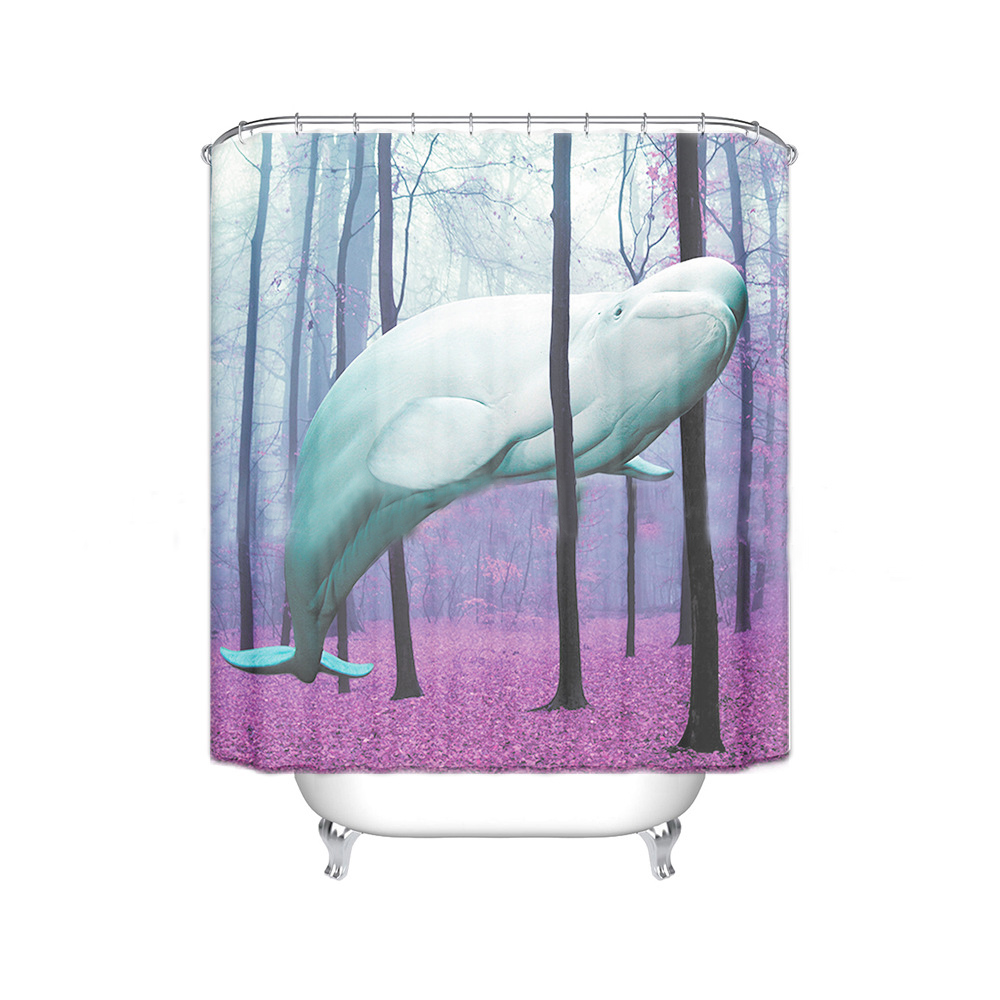 Whale shower curtain - Pink Forest Ghost Whale Tree Waterproof Fabric Shower Curtain With 12 Hooks Bathroom Bathing Blocking Curtains