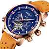 KINYUED Luxury Mens Military Automatic Watch Skeleton Tourbillon Mechanical Watches Sport Genuine Leather Wristwatch Date Clock