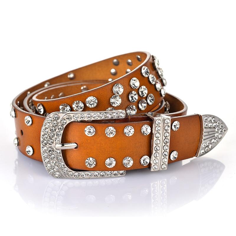 Hot femmes luxe ceintures bonne qualité en cuir taille sangles strass métal boucle rétro ceintures décontractées populaire rue fête ceintures