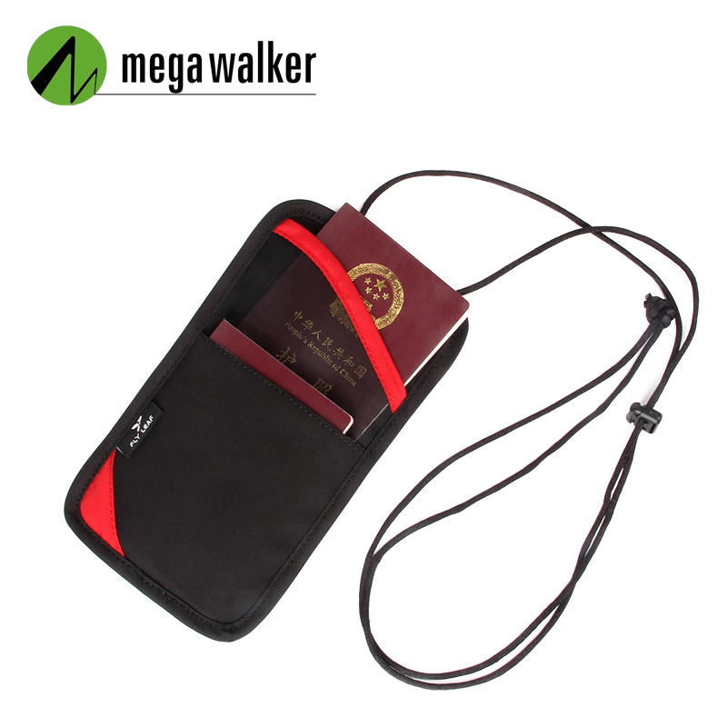 Mega Walker Brand Hanging Neck Passport Bag Men Women Travel Document Organizer ID Credit Card Holder Protective Cover Card Pack