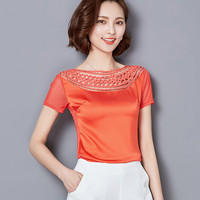 New 2016 Summer New Korean Slim Women Large Size Bud Mesh Yarn Was Thin Casual Fashion