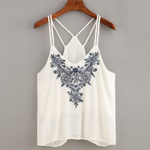 Summer Fashion Women Ladies Sexy Embroidered Sleeveless Tops Blouse Sexy Vest Loose Top T-Shirt Tank Vest Summer Fashion Clothes(China)