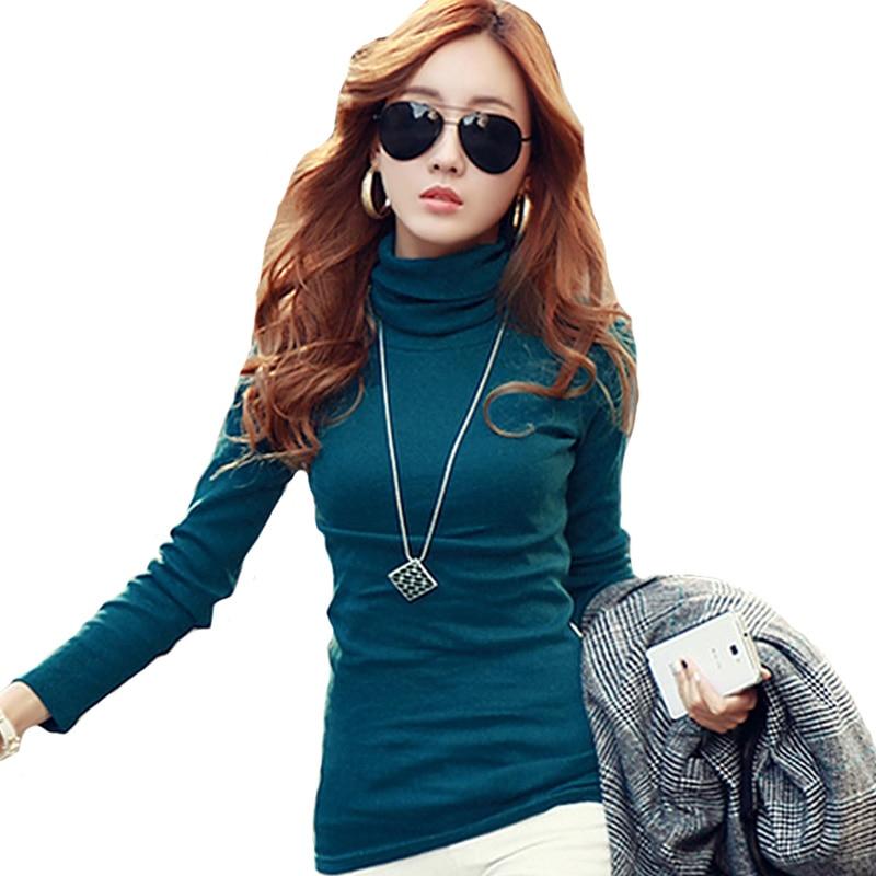 Spring Autumn Winter Fashion Turtleneck Tops Long Sleeve Cotton T Shirt Slim Casual t shirt women