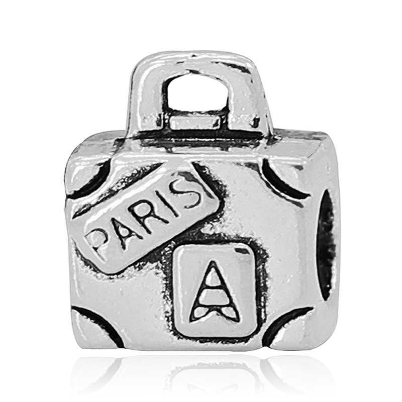 Darmowa wysyłka 1PC srebrna walizka podróżna wisiorki z koralikami fit europejski styl Pandora Charm bransoletki i naszyjniki