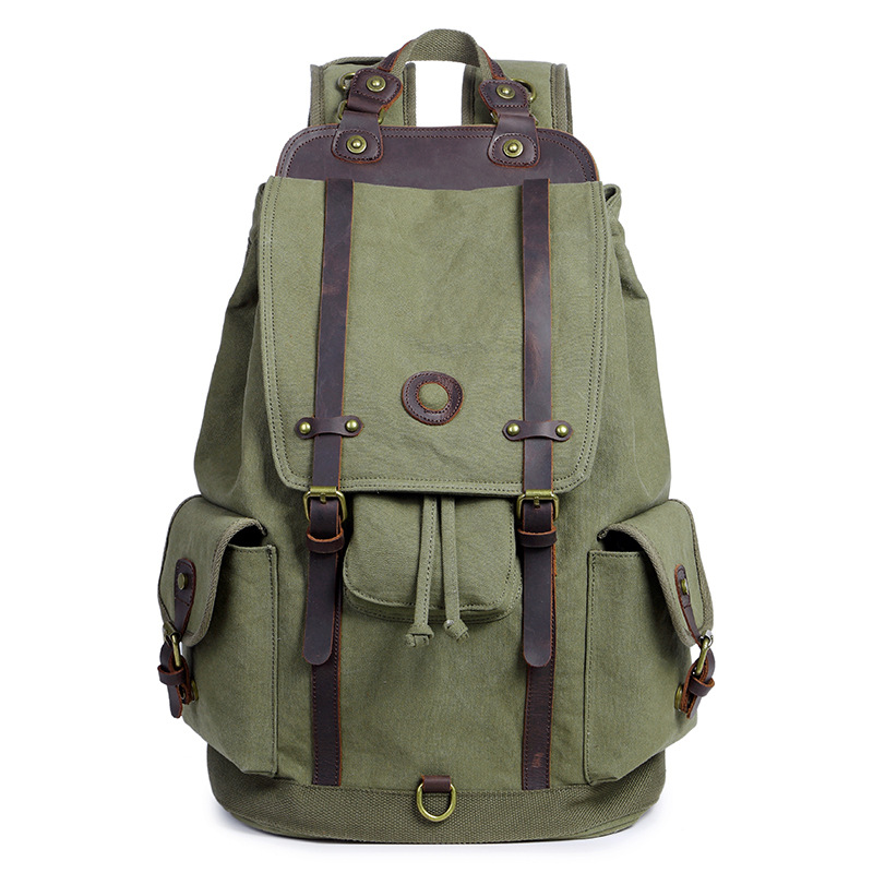 Men/'s Vintage Canvas Satchel Travel Camping Outdoor Hiking Bag Rucksack Backpack