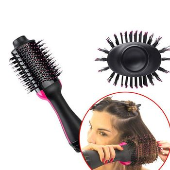 Um secador de cabelo passo e volumizer, mankami salão de beleza ar quente paddle estilo escova gerador íon negativo alisador cabelo