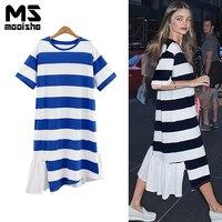 Mooishe Summer Casual Women Long Shirt Dress Short Sleeve Stripes Patchwork Irregular Maxi Dress M 3XL