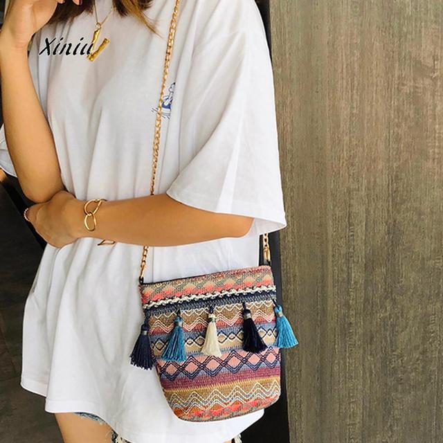 Women S Straw Shoulder Bag Vintage Weaving Tassel Messenger Crossbody Beach Female