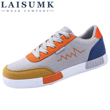 2019 LAISUMK Men Fashion Shoes High Casual Canvas Breathable Lace Up Style Trend Free Shipping