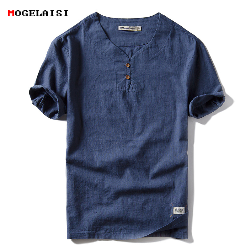 New Spring 2018 Brand T Shirt Men Casual Solid Tees Linen