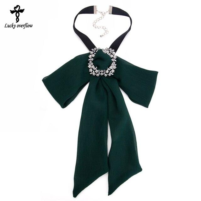 Fashion Chiffon Collar Bohemian Necklaces Girls Ribbon Big Bowknot Bow Tie  Choker For WOmen Collar Accessories 789043d949