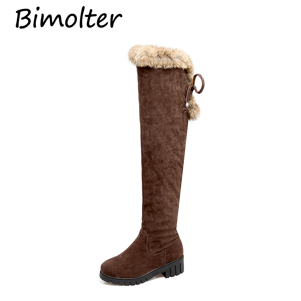 Bimolter Sexy Lady Over The Knee High Flock Women Snow Boots Female Winter Warm Lace-up Low Square Heel Fur Long PAEA031