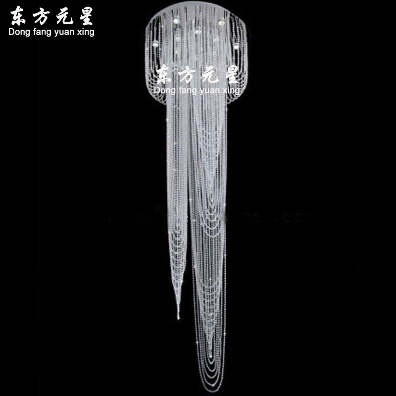 clear crystal chandelier light crystal bead hanging lamp rain drop LED flush mount staircase lighting fit 110-240V clear fit mtr 40 110