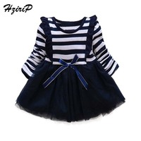 HziriP 2017 New Fashion Baby Girl Dress Cotton Bow Stripe O Neck Long Sleeve A Line