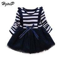 HziriP 2017 New Fashion Baby Girl Dress Cotton Bow Stripe O Neck Long Sleeve A Line
