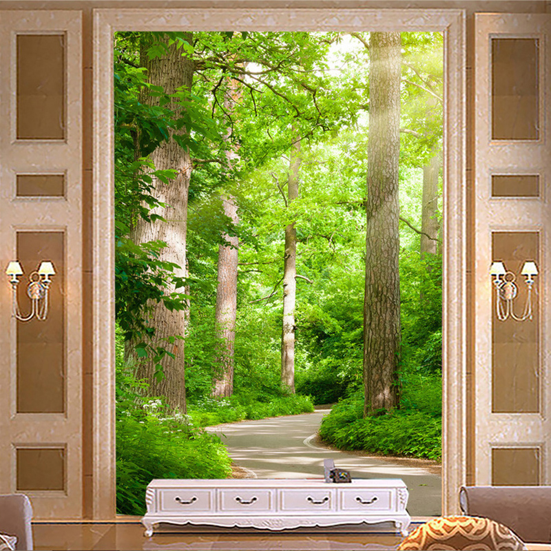 Photo Wallpaper 3D Green Forest Path Mural Living Room Hotel Entrance Background Wall Covering Mural Wall Papers Papel De Parede custom 3d photo wallpaper 3d stereoscopic green forest mural for living room bedroom tv backdrop waterproof papel de parede