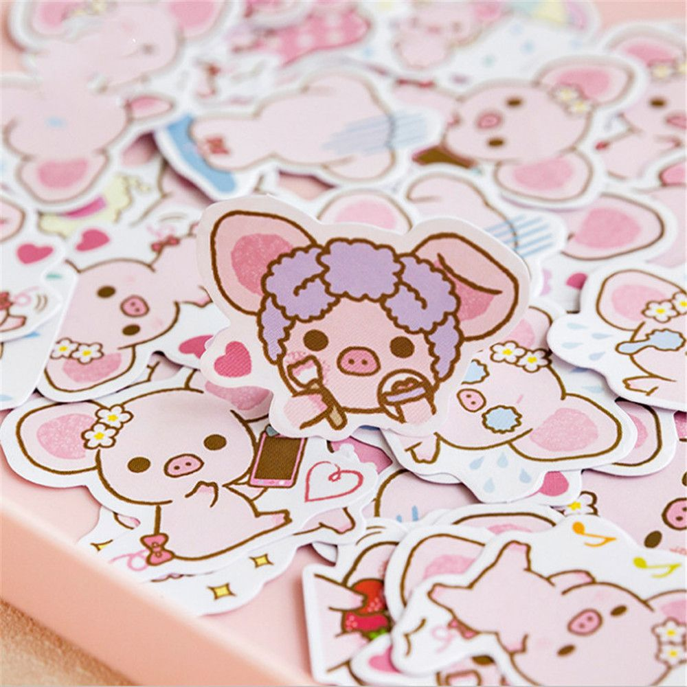 45pcs/1pack Cute Big Ears Pink Pig Decorative Stickers Scrapbooking Stick Label Diary Stationery Album Stickers