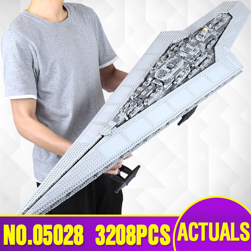 Lepin 05028 Star Execytor Super Star Destroyer Model War Building Kit  Block Brick Children Toy Gift Compatible With 10221 lepin 05040 y attack starfighter wing building block assembled brick star series war toys compatible with 10134 educational gift