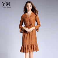 YuooMuoo New High Quality Women S V Neck Bandage Lace Dress Casual Flare Sleeve Mermaid Party