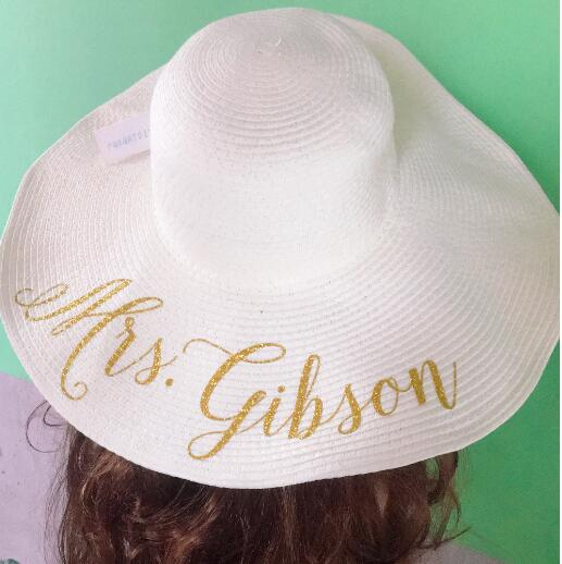 custom text Bride Tribe beach wedding floppy Mrs Sequin Sun Hats Just  married Drunk in love Honeymoon bridal party gifts favors-in Party Favors  from Home ... bd70ff7df85
