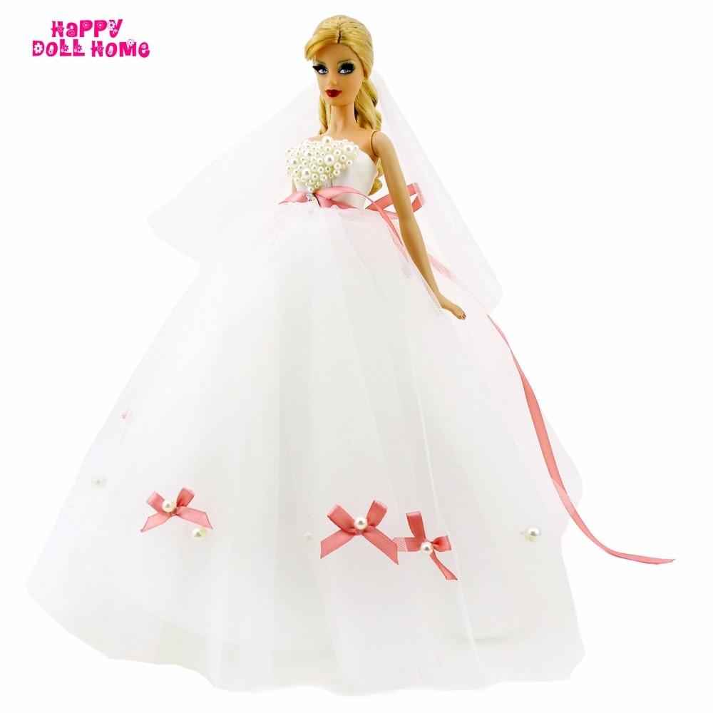 Великолепная DIY ручной работы свадебное платье с копия жемчужина Бусины Фата бантом платье одежда принцессы для куклы Барби FR игрушка в под...