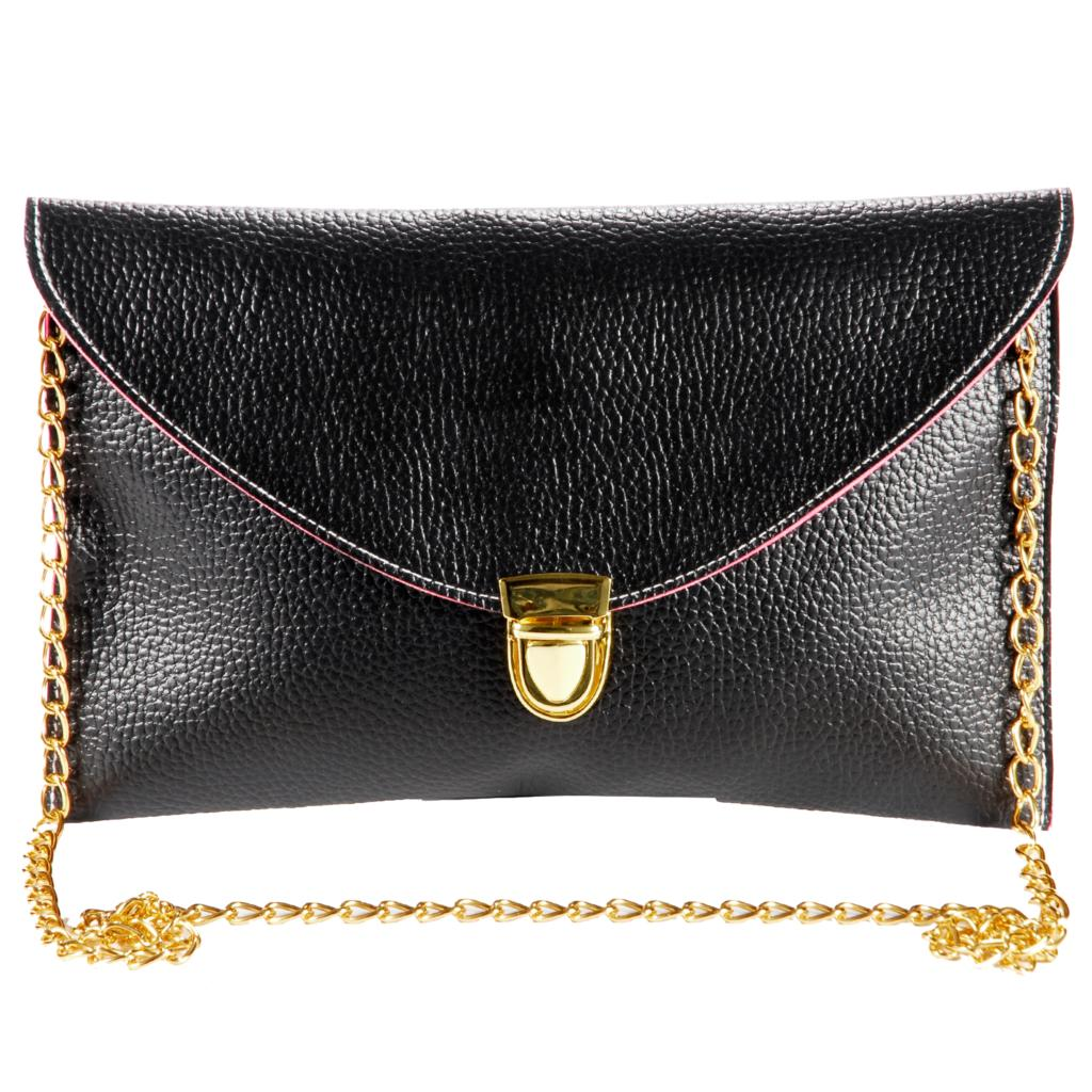 Womens Envelope Clutch hand carry Chain Strap Shoulder Bag briefcase - Black