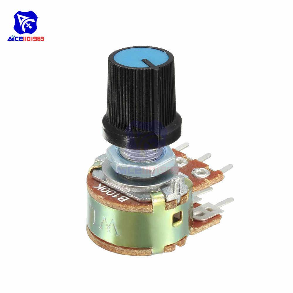 مقاوم الجهد 5 قطعة/الوحدة 1K 2K 5K 10K 20K 50K 100K 500K Ohm 6 Pin مقياس الجهد الدوار المستدق الخطي للاردوينو مع غطاء