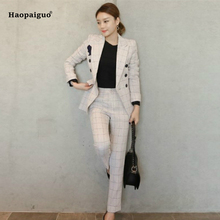 Plus Size Two Pieces Set Women Business Plaid Formal Suits for Work Office Long Sleeve Bandage Pant and 2 Piece