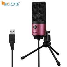 Usb mic fifine desktop microfone condensador para youtube vídeos transmissão ao vivo em linha reunião skype terno para windows portátil k669