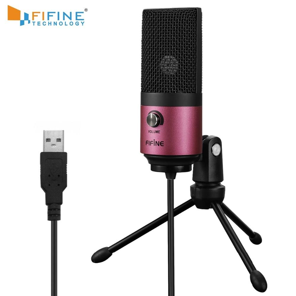 Usb mic fifine desktop condensador microfone para youtube vídeos transmissão ao vivo em linha reunião skype terno para windows mac pc k669
