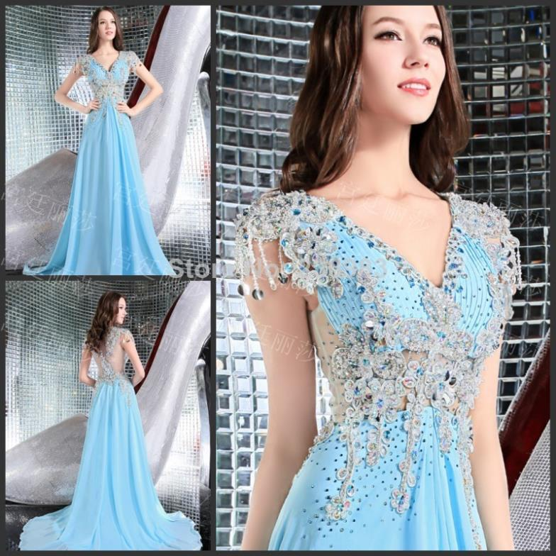 Aliexpress.com : Buy Elegant Gold Long Evening Dresses 2017 V Neck ...