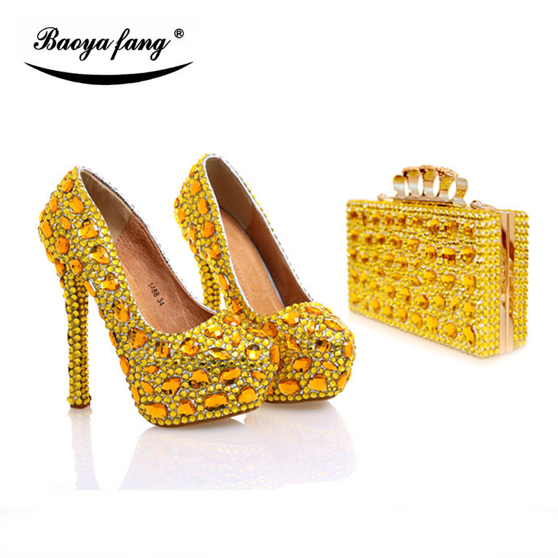 BaoYaFang New Yellow Gold crystal wedding shoes with matching bags  Women High heel real leather Platform shoes woman high Pumps free shipping new spring and summer fashion men s denim jeans slim wear white pantyhose feet