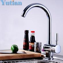 Kostenloser versand küche cozinha Verchromt einhebel waschbecken wasserhahn schwenk warmen und kalten küchenarmatur mischer torneira, YT-6024