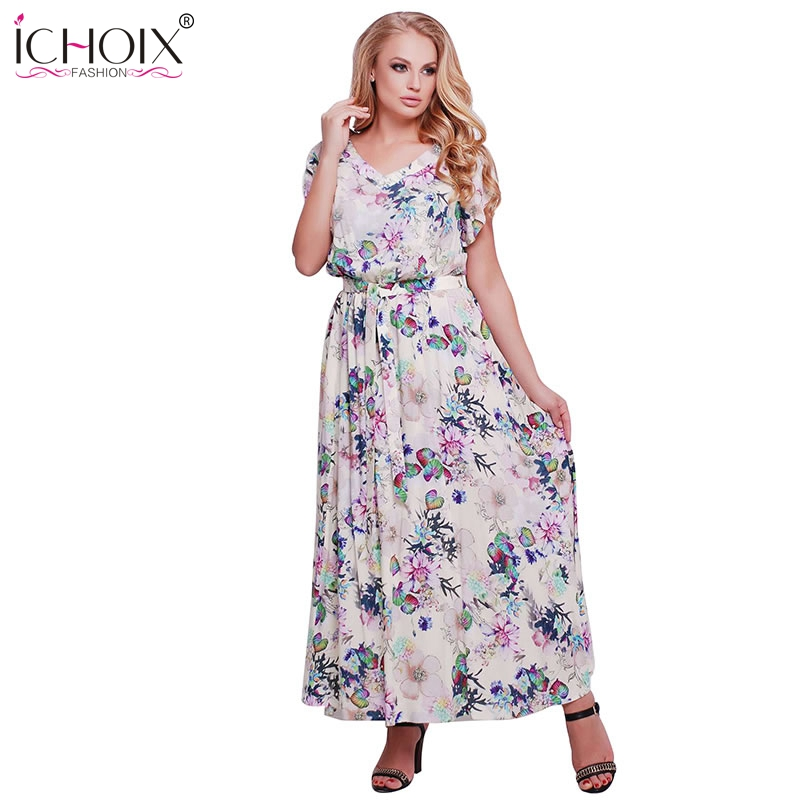 78d0b62dfd76 5XL 6XL Plus Size da cópia Floral vestido longo vestido de Praia Boho  Estilo as mulheres Se Vestem Tamanho Grande maxi Vestidos Com Decote Em V  do Sexo ...