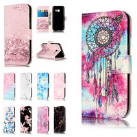 A3 2016 Etui Cases For Samsung Galaxy A3 2017 Coque Cover Granite Marble Texture Pink Wallet