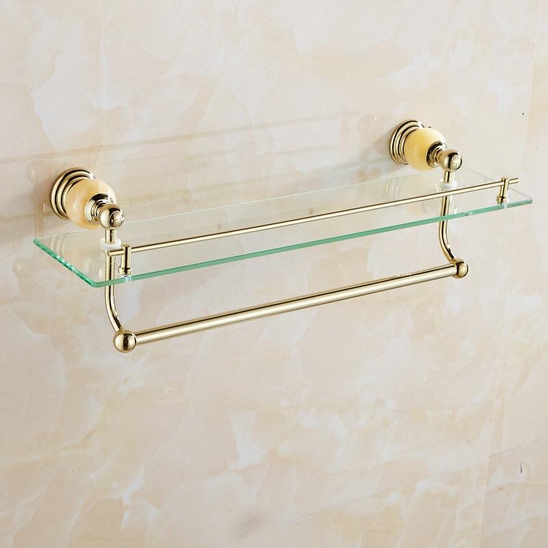 62 Jade Série Prateleiras Do Banheiro de Ouro Polido Acessórios Do Banheiro Suporte de Toalha de papel Toalha Bar & Gancho Com Limpeza De Vidro Prateleira - 4