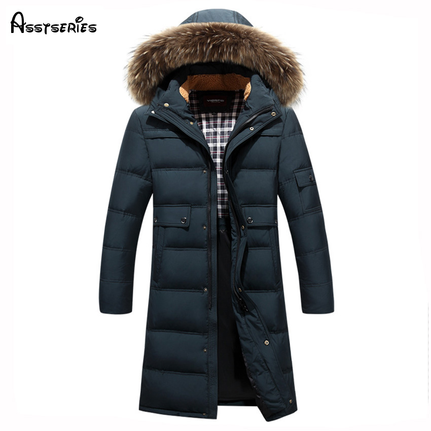 2018 Free Shipping Young Man Long Style Keep Warm White Duck Down Jacket Long Winter Coat With Big Fur Jacket Plus Size D248