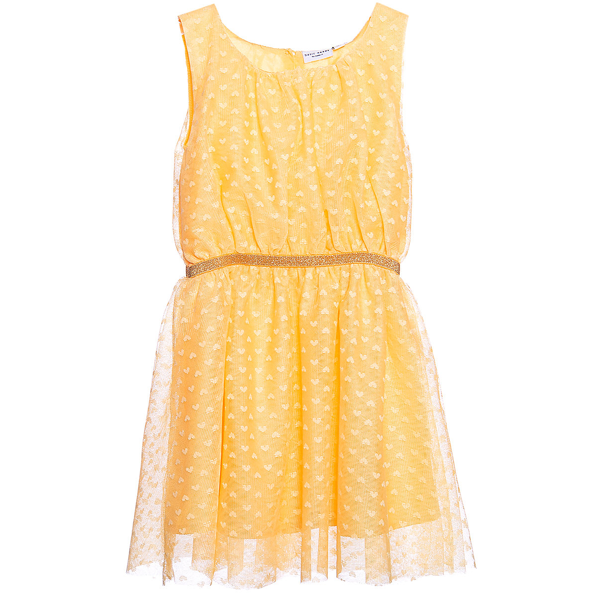 NAME IT Dresses 10626609 Dress girl children checkered pattern collar fitted silhouette sequins Polyester Casual Yellow Sleeveless Sleeve ruffle collar long sleeve lace crochet sheath dress