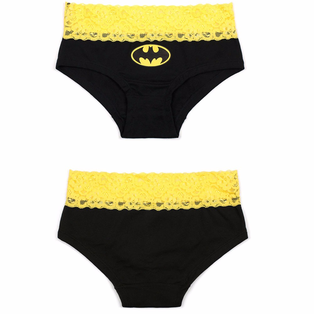 1PC Hot Briefs HERO Batman Superman sexy Cartoon Printed Lace Cotton Panties Breathable Ropa Interior Triangle Female underpants