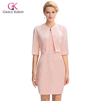 Grace Karin Women Pink Lace Evening Dress With Sleeves 2016 Knee Length Mother Of The Bride